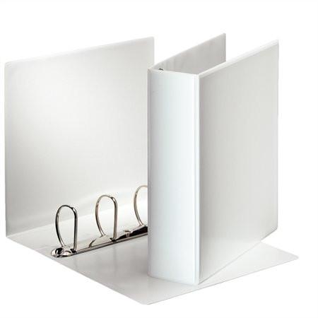 ESSELTE Gyűrűs könyv, panorámás, 4 gyűrű, D alakú, 86 mm, A4, PP, ESSELTE, fehér