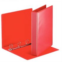 ESSELTE Gyűrűs könyv, panorámás, 4 gyűrű, D alakú, 50 mm, A4, PP, ESSELTE, piros