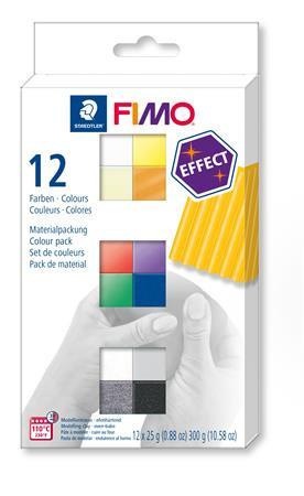"""FIMO Gyurma, készlet, 12x25 g, égethető, FIMO """"Effect Colours"""", 12 különböző szín"""
