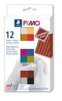 """FIMO Gyurma, készlet, 12x25 g, égethető, FIMO """"Leather Effect"""" , 12 különböző szín"""