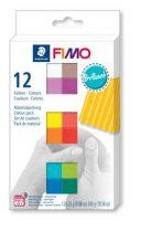 """FIMO Gyurma, készlet, 12x25 g, égethető, FIMO """"Soft Brillant"""", 12 különböző szín"""