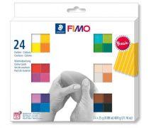 """FIMO Gyurma, készlet, 24x25g, égethető,  FIMO """"Soft Basic"""", 24 különböző szín"""