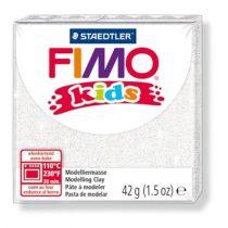 "FIMO Gyurma, 42 g, égethető, FIMO ""Kids"", glitteres fehér"