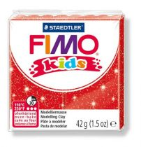 "FIMO Gyurma, 42 g, égethető, FIMO ""Kids"", glitteres piros"