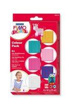"""FIMO Gyurma készlet, 6x42 g, égethető, lányoknak, FIMO """"Kids Color Pack"""", 6 különböző szín"""