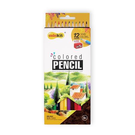 COLOKIT Színes ceruza készlet, hatszögletű, hegyezővel, COLOKIT, 12 különböző szín