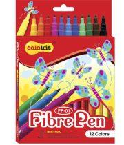 """COLOKIT Filctoll készlet, COLOKIT """"FibrePen"""", 12 különböző szín"""