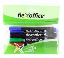 """FLEXOFFICE Alkoholos marker, 1,5 mm, kúpos, FLEXOFFICE """"PM03"""", 4 különböző szín"""