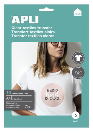 APLI Fólia, vasalható, A4, tintasugaras nyomtatóba, fehér pólóhoz, APLI