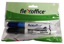 """FLEXOFFICE Táblamarker, 2,5 mm, kúpos,  2 db/bliszter, FLEXOFFICE """"WB02"""", kék,fekete"""