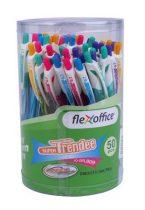 """FLEXOFFICE Zseléstoll, 0,35 mm, nyomógombos, vegyes színű test, FLEXOFFICE """"Trendee"""", kék"""