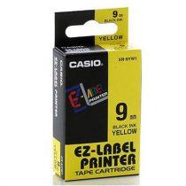 CASIO Feliratozógép szalag, 9 mm x 8 m, CASIO, sárga-fekete