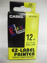 CASIO Feliratozógép szalag, 12 mm x 8 m, CASIO, sárga-fekete