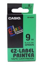 CASIO Feliratozógép szalag, 9 mm x 8 m, CASIO, zöld-fekete
