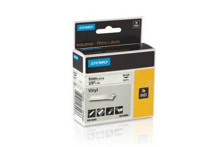 "DYMO Feliratozógép szalag, vinil, 9 mm x 5,5 m,  DYMO ""Rhino"", fehér-fekete"