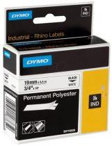 """DYMO Feliratozógép szalag, tartós poliészter, 19 mm x 5,5 m, DYMO """"Rhino"""", fehér-fekete"""