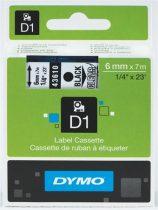 """DYMO Feliratozógép szalag, 6 mm x 7 m, DYMO """"D1"""", víztiszta-fekete"""