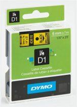 """DYMO Feliratozógép szalag, 6 mm x 7 m, DYMO """"D1"""", sárga-fekete"""