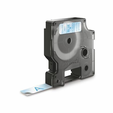 """DYMO Feliratozógép szalag, 12 mm x 7 m, DYMO """"D1"""", víztiszta-kék"""