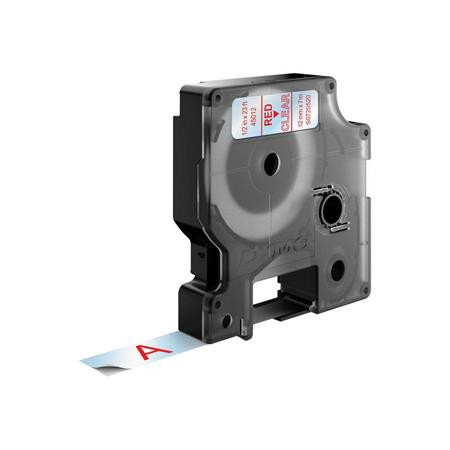"""DYMO Feliratozógép szalag, 12 mm x 7 m, DYMO """"D1"""", víztiszta-piros"""
