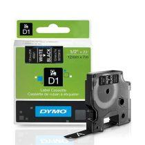 """DYMO Feliratozógép szalag, 12 mm x 7 m, DYMO """"D1"""", fekete-fehér"""
