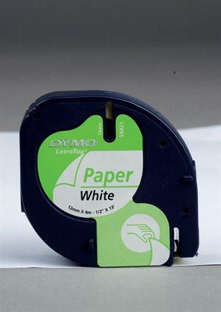 """DYMO Feliratozógép szalag, papír, 12 mm x 4 m, DYMO """"Letratag"""", fehér"""