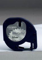 """DYMO Feliratozógép szalag, műanyag, 12 mm x 4 m, DYMO """"Letratag"""", ezüst"""