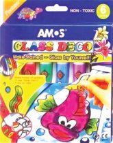 AMOS Üvegfóliafesték készlet, 6 különböző szín
