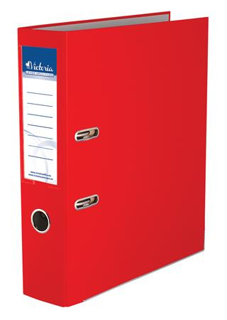 """VICTORIA Iratrendező, 75 mm, A4, PP/karton, élvédő sínnel, VICTORIA, """"Basic"""", piros"""