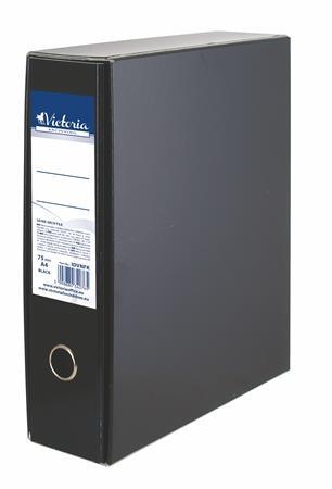 VICTORIA Tokos iratrendező, 75 mm, A4, karton, VICTORIA, fekete