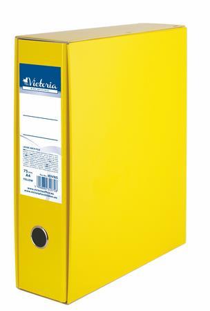 VICTORIA Tokos iratrendező, 75 mm, A4, karton, VICTORIA, sárga