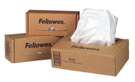 FELLOWES Hulladékgyűjtő zsák iratmegsemmisítőhöz, 30 literes kapacitásig, FELLOWES