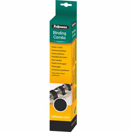 FELLOWES Spirál, műanyag, 10 mm, 41-55 lap, FELLOWES, 25 db, fekete