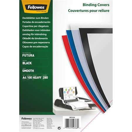 "FELLOWES Hátlap, A4, 280 mikron, polipropilén, matt, FELLOWES ""Futura"", fekete"