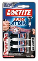 "HENKEL Pillanatragasztó gél, 3 x 1 g, HENKEL ""Loctite Super Attak Mini Trio PowerFlex Gel"""