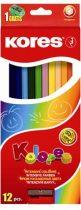 """KORES Színes ceruza készlet, hatszögletű, KORES """"Hexagonal"""", 12 különböző szín"""