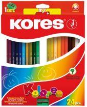 """KORES Színes ceruza készlet, hatszögletű, KORES """"Hexagonal"""", 24 különböző szín"""