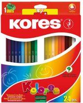 """KORES Színes ceruza készlet, háromszögletű, KORES """"Triangular"""", 24 különböző szín"""