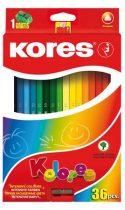 """KORES Színes ceruza készlet, háromszögletű, KORES """"Triangular"""", 36 különböző szín"""