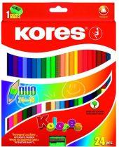 """KORES Színes ceruza készlet, kétvégű, háromszögletű, KORES """"Duo"""", 48 különböző szín"""