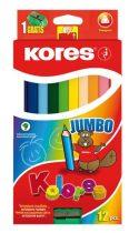 """KORES Színes ceruza készlet, háromszögletű, vastag, KORES """"Jumbo"""", 12 különböző szín"""