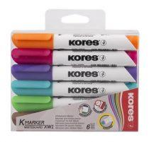 """KORES Tábla- és flipchart marker, 1-3 mm, kúpos, KORES """"K-Marker"""", 6 különböző szín"""