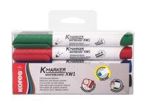 """KORES Tábla- és flipchart marker készlet, 1-3 mm, kúpos, KORES """"K-Marker"""", 4 különböző szín"""