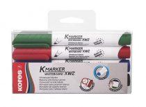 """KORES Tábla- és flipchart marker készlet, 1-3 mm, vágott, KORES """"K-Marker"""", 4 különböző szín"""