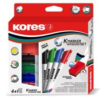 KORES Tábla- és flipchart marker készlet mágneses táblatörlő szivaccsal, 1-3 mm, kúpos KORES, 4 különböző szín