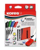 KORES Tábla- és flipchart marker készlet mágneses táblatörlő szivaccsal, 3-5 mm, vágott, KORES, 4 különböző szín
