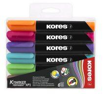 """KORES Alkoholos marker, 3-5 mm, kúpos, KORES """"K-Marker"""", 6 különböző szín"""
