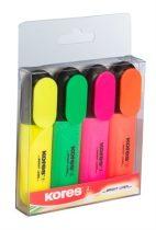 KORES Szövegkiemelő készlet, 0,5-5 mm, KORES, 4 különböző szín