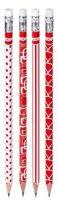 KORES Grafitceruza radírral, HB, háromszögletű, KORES, piros-fehér