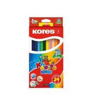 """KORES Színes ceruza készlet, háromszögletű, vastag, KORES """"Kolores Jumbo"""", 24 különböző szín"""